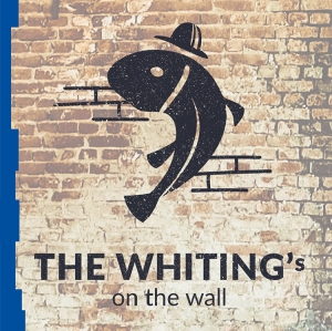 The Whiting's on the Wall logo on a brick wall.